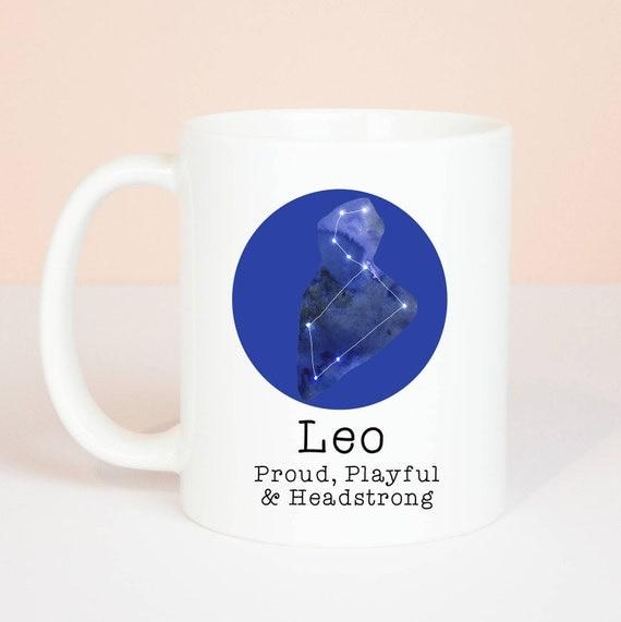 Leo mug, Personalised back, lovely star sign Leo mug, July 23 to August 23