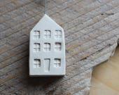Ceramic Miniature White House with Heart - Ready to Ship