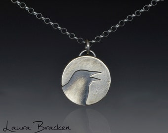 Sterling Silver Raven Crow Pendant Necklace
