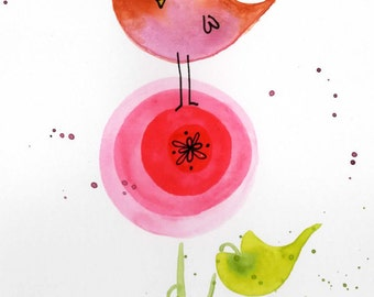 Cute Bird with Pink flower original watercolor painting lauren ingraham