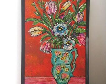 Antique Vase with Flowers, Original Painting, Joy, Bohemian, Art, Cheery, Rustic, Wall Art, Home Decor, Cottage Decor