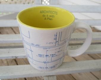 Vintage Blueprint Architect Mug - GIFT FOR ARCHITECT - Architects do it with A Plan - Funny Mug
