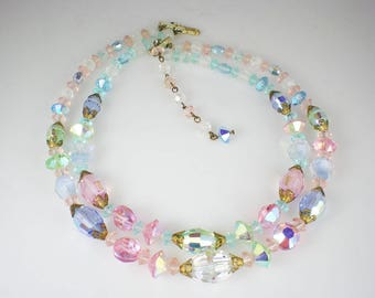 Vintage Pastel Crystal Aurora Borealis Necklace Pink Green Blue Jewelry