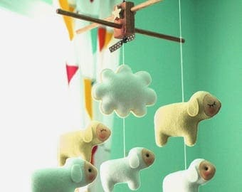 Free US Ship Musical Baby Mobile Counting Sheep, Country Farm Theme, Hanging Mobile for Baby Crib, Modern Nursery Decor, Kids Playroom decor