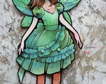 Jointed Articulated Paper Dolls - OOAK - Hand Painted - Folk Art - Paper Goods - The Faery Ball #20 - Agrifoglio