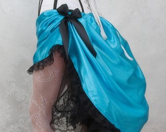 Vintage Diva Victorian Steampunk Bustle Skirt - Turquoise Blue - Ready to Ship