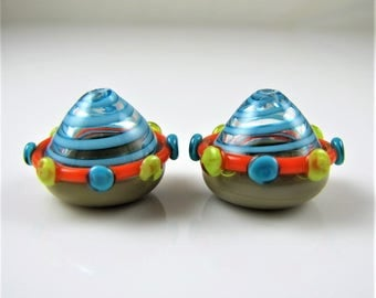 Spaceship Hollow Lampwork Glass Bead Pairs