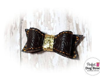 Western Dog Bow, Faux Tooled Leather, Dog Bow, Cowboy Dog Bows