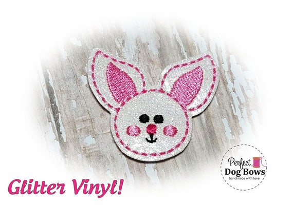 Easter Dog Grooming Bows, Easter Bunny Dog Hair Bow, White Glitter Bunny