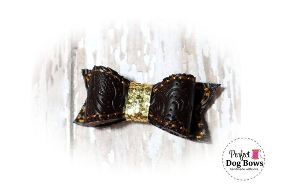 Western Dog Bow, Faux Tooled Leather, Dog Bow, Cowboy Dog Bows