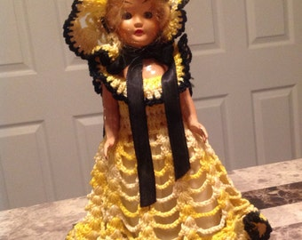 Vintage Sleepy Eyed Maiden Doll with Crocheted Dress