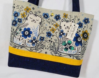 Calico Kitty Cat on Canvas Blue Flowers purse tote bag