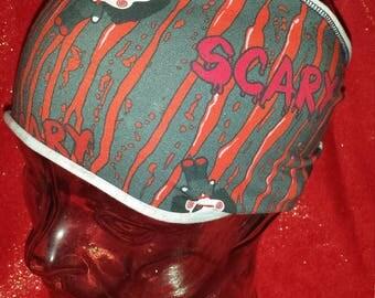 Chibi Horror Characters Saw Ring Print Cotton/Lycra Stretch Knit Scrunchy Wide Headband