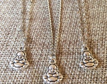 Silver Tiny Buddha Necklace - Mens Buddha Necklace - Mens Buddha Pendant - Available on Your Choice of Three Chains