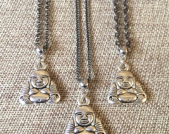 Silver Buddha Necklace on Your Choice of 3 Gunmetal Chains  - Buddhist Jewelry