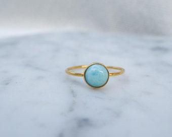 lagoon - 6mm larimar 14K gold-fill ring. stack rings. baby blue gemstone mint green gold ring