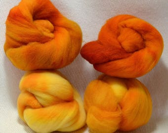 NEW Hand Dyed Gradient Fiber Set - American Targhee Combed Top in Butternut Squash Semi Solid 2 ounces - Play With Your Fiber!