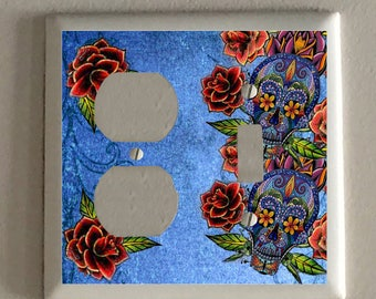 Double Plug and Toggle Light Switch Plate - Dia De Los Muertos Purple Skull With Roses, Blue Background - Mexican Folk Art - Altered Art