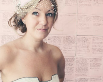 Clearance Sale, Bridal Birdcage Veil with Chenille Dots in the Bandeau Style - Cream Ivory - Free Feather Fascinator with Purchase