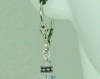 Sapphire Swarovski Crystal and Sterling Silver Earrings - E572