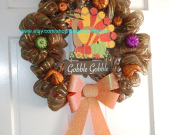 Fall/Thanksgiving Turkey Deco Mesh Wreath