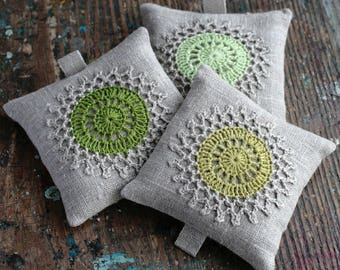 Lavender sachets -- crochet motif -- set of 3