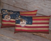 2 Primitive Patriotic Rustic USA July 4th Americana American Flags Olde Glory Honor Bowl Fillers Ornaments Ornies Tucks Shelf Sitters