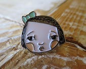 Blue Bow girl - enamel pin 1 inch