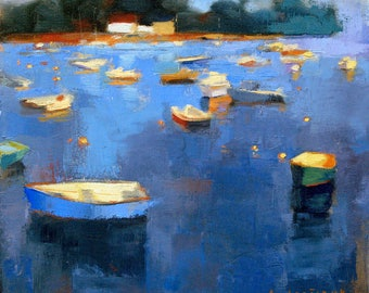 Cobalt Blue Harbour, abstract landscape oil painting, direct from artist