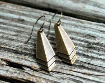 Art Deco Earrings . Geometric Earrings . Best Friend Birthday Gift . Antiqued Brass Earrings . Bohemian Earrings