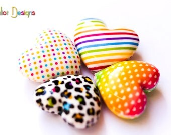 Colorful graphic Heart beads - 4 Handmade polymer clay beads - Fluffy hearts - multi colored heart beads, leopard bead