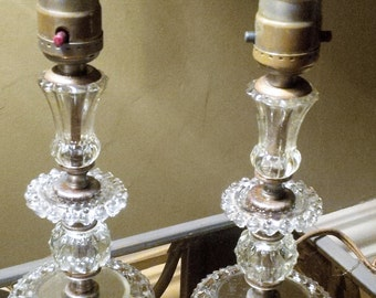 Vintage, Salvaged, Cut Glass, Bedside Lamps, Accent Lamps, Original Fabric Cord