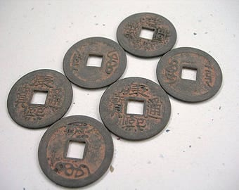 Reproduction Chinese I Ching Coins lot of 6 Slate Gray-Bronze with Red Ochre Patina 24mm ETHNIC ELEMENTS