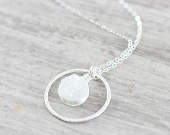 White Druzy Necklace, Druzy Bridal Necklace, Silver Wedding Jewelry, Sterling Silver Necklace, Druzy Gemstone Necklace, Bridal Pendant