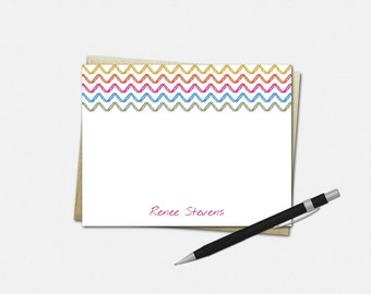 Personalized Note Cards, Personalized Stationery, Chevron Sketch, Set of 8, Personalized Flat Note Cards, Stationary, Stationery for Her