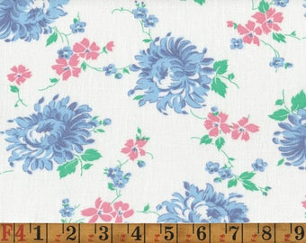 Vintage Feedsack Fabric - Big Blue Mums - Quilting Cotton 1940s 1950s