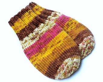Wool-Free Yellow Brown Baby Mittens on Cord. Hand Knit Thumbless Cordless Baby Mitts. Winter Mittens. Infant 9 to 12 Months Hand Warmers