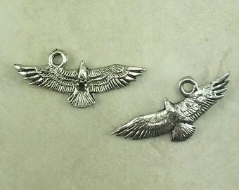 Flying Eagle Charms > Bald Raptor Bird of Prey Peregrine Hawk Spirit Animal - American Made Lead Free Silver Pewter - I ship Internationally