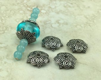 4 Large Spiral Cluster Ornate Bead Cap > Swirl Zen Doodle Magical Bali Style - American Made Lead Free Pewter Silver I ship Internationally