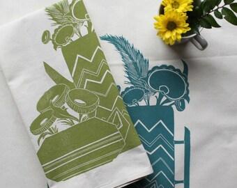 Teapot and Flowers Block Printed 100% cotton Flour Sack Towel- Original Teapot Designs-Block printed towel