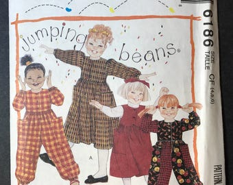 McCall's 6186 Girl's Jumpsuit, Jumper, Dress Jumping Beans Pattern size 4,5,6