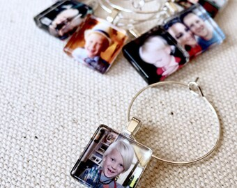Custom Glass Wine Charm Party Favors l 15mm SQUARES l Personalized Image, Children, Wedding, Bride Groom, Pets, Baby Shower, Logo
