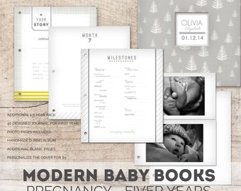 A Modern Minimal Baby Memory Book (Neutral Pages, Trees Cover, 9.25 x 9.5)