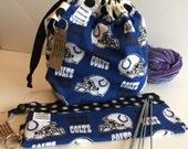 Indianapolis Football themed 2 skein Double Shot  Knitting Bag. No exposed seams. Zipper / velcro free. Medium knitting bag.