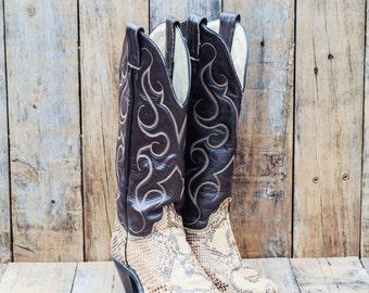 Snake Skin Boots, US 6.5 6-1/2, Uk 4.5, Eu 37, Leather Cowboy Boots, Brown Cowboy Boots, Womens Cowboy Boots, Abilene Boots, USA Made, Boho