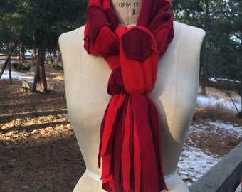 Fringed Cashmere Scarf Up cycled Cashmere Polka Dot Scarf
