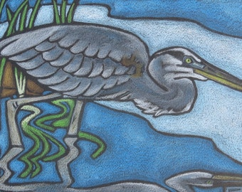 Great Blue Heron- ORIGINAL Colored Pencil Art- Wildlife Nature Drawing