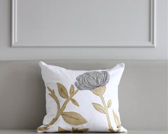Grey & Gold Pillow Cover
