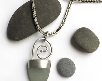 Cornwall Aqua Seaglass Beach Glass Bezel Set Sterling Pendant Necklace Satin Finish Wheat Chain