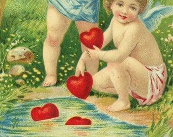 vintage Valentine Hearts Cupid Angel postcard